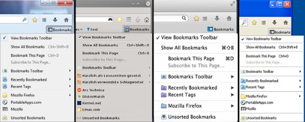 Classic Theme Restorer- Open bookmarks menu buttons popupmenu (Windows 7, Linux Mint, Windows XP, MacOSX), Mozilla Addon download