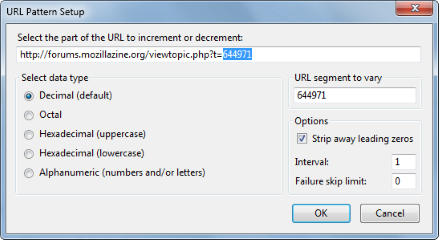 URL Flipper- You will see the 'URL Pattern Setup' dialog the first time you try to decrement or increment a URL., Mozilla Addon download