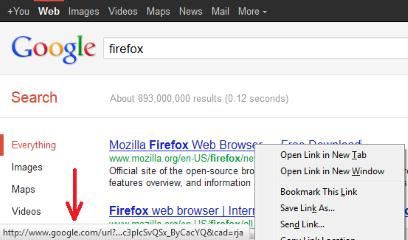Google search link fix- Before, Mozilla Addon download