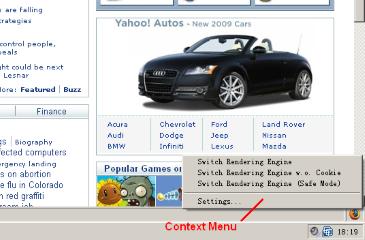 Context menu.