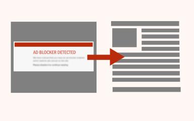 Website showing news instead of AdBlock warning