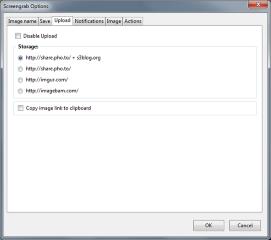 Screengrab (fix version)- Settings - Upload, Mozilla Addon download